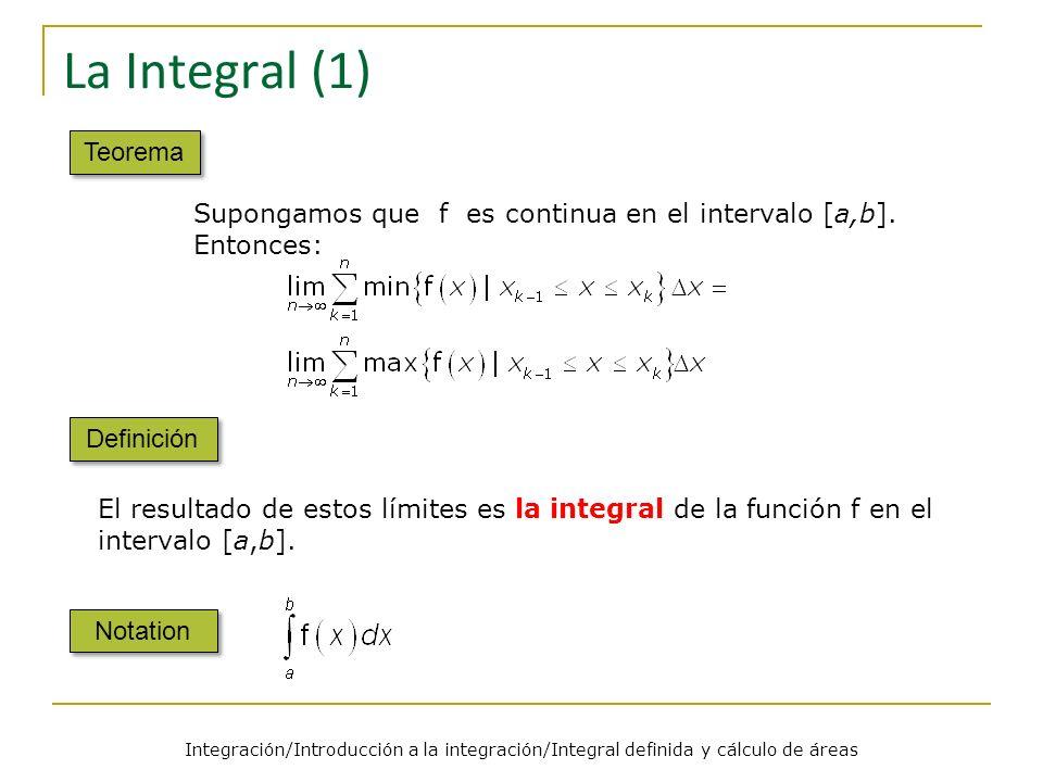 La Integral (1) Teorema. Supongamos que f es continua en el intervalo [a,b]. Entonces: Definición.